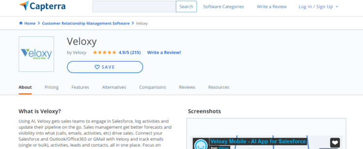 screen capture of Capterra's review of CRM software