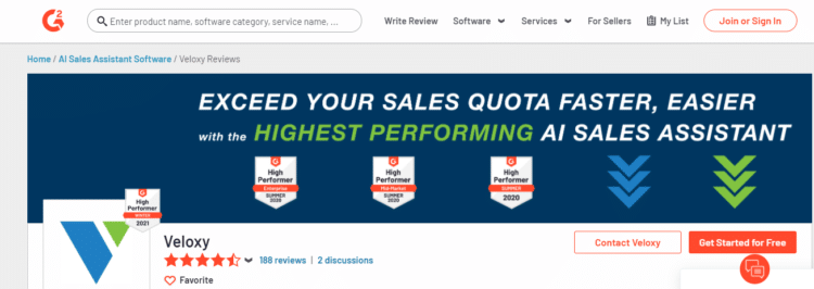 screen capture of a software review page on G2 for AI Sales Assistant Software