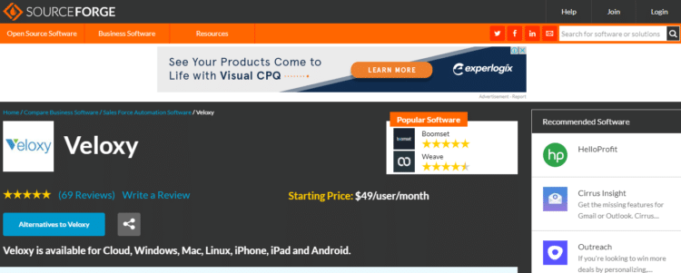 screenshot of a SourceForge software review for Sales Force Automation Software