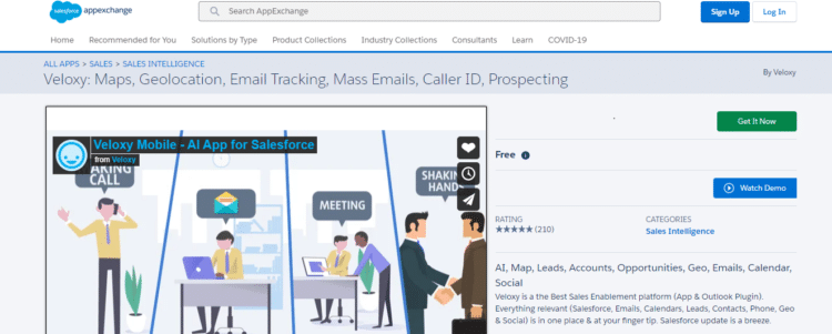 screen capture of sales intelligence software reviews on Salesforce Appexchange