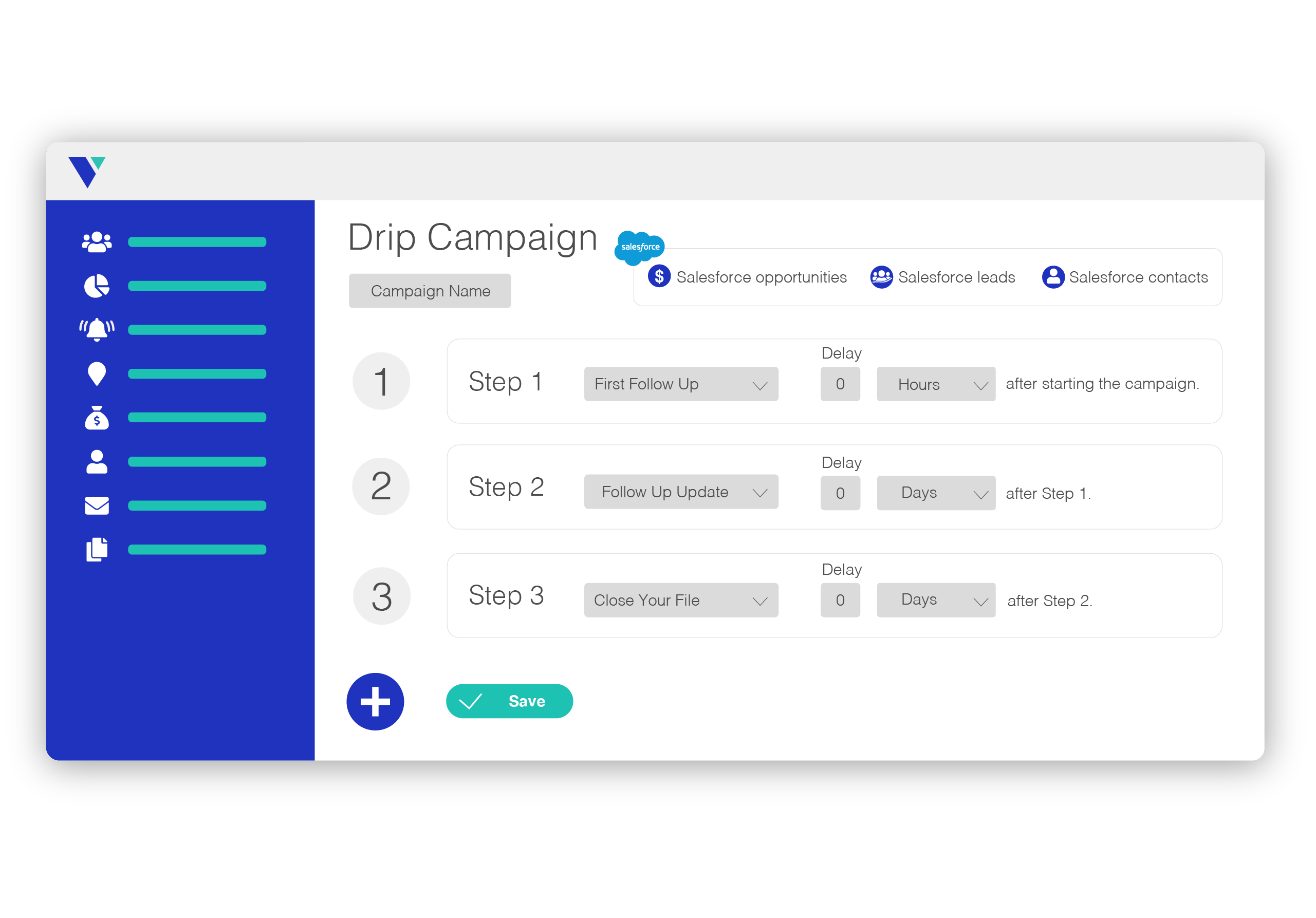 graphic of Veloxy's email drip campaign screen