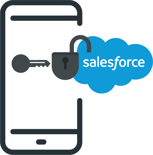 icon of Veloxy unlocking Salesforce CRM on a smartphone