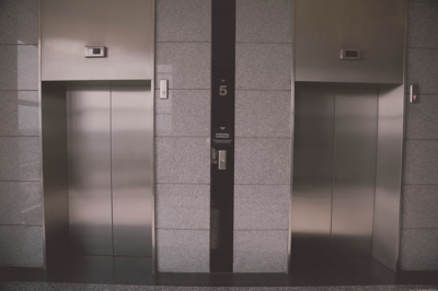image of an elevator, where the first elevator pitch took place