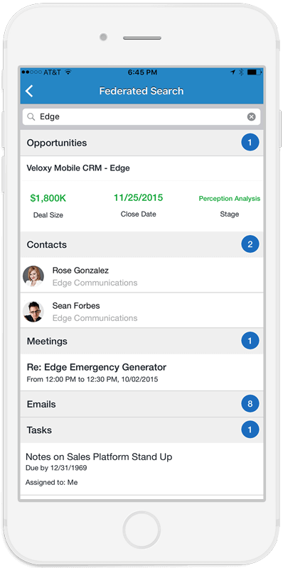 Veloxy's Mobile field sales software view of an account's org chart