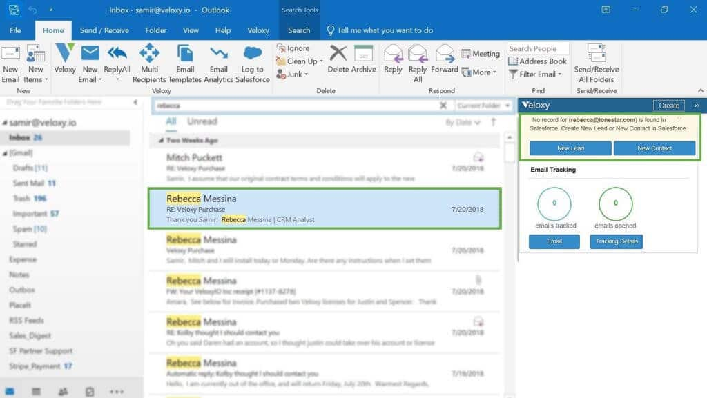 screen shot of Veloxy AI Sales Assistant Software for Outlook