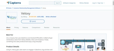 Veloxy AI Sales Assistant Software profile on Capterra