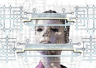 woman looking at working AI