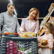 photo of a family grocery shopping