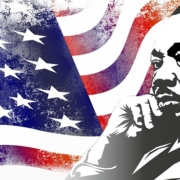 photo of martin luther king jr and the american flag