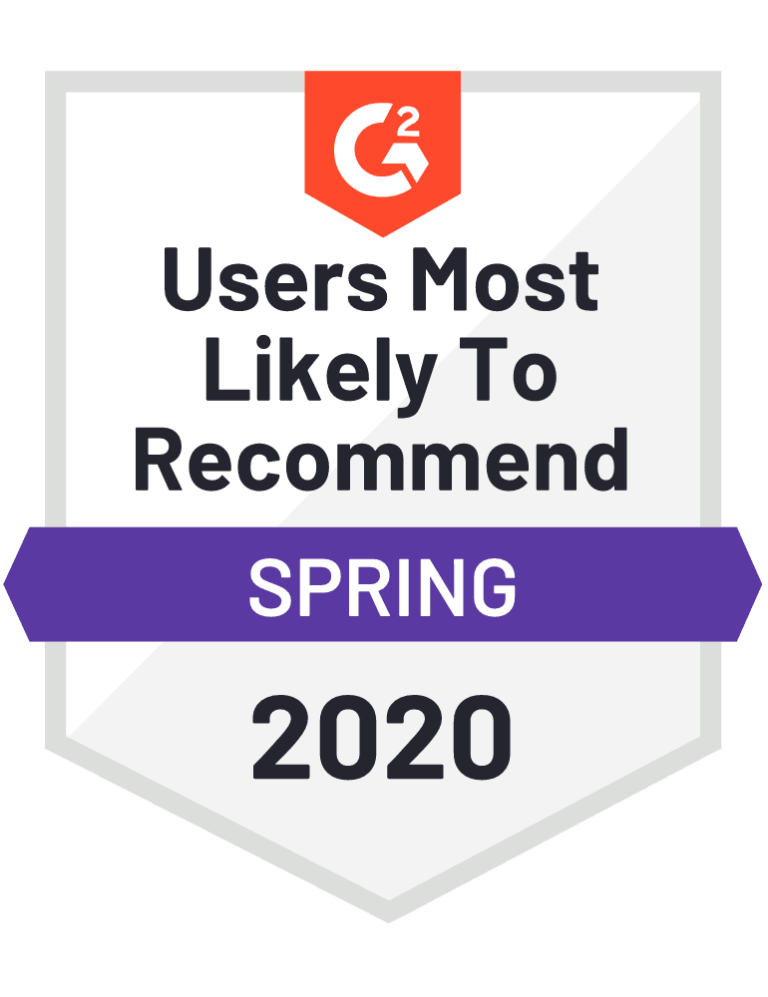 g2 users most likely to recommend badge