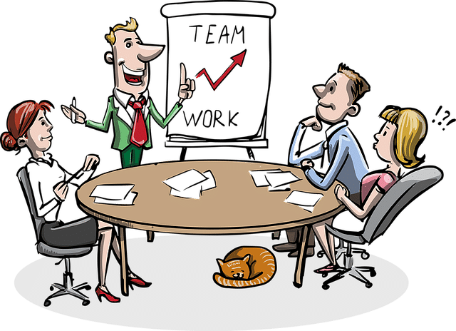 illustration of a team work meeting