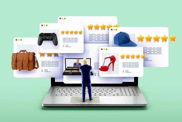 illustration of online reviews