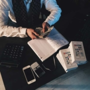 photo of a businessman counting money