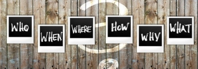 graphic of polaroids asking who, when, where, how, why and what