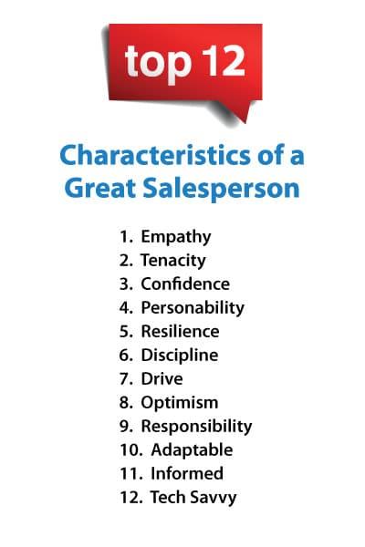 list of sales rep characteristics